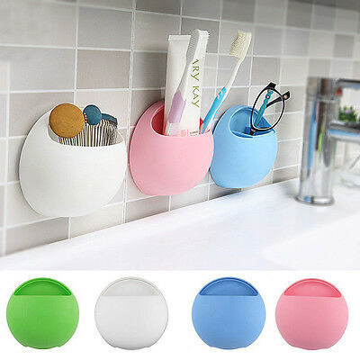 Home Bathroom Toothbrush Wall Mount Holder Sucker Suction Cups Organizer