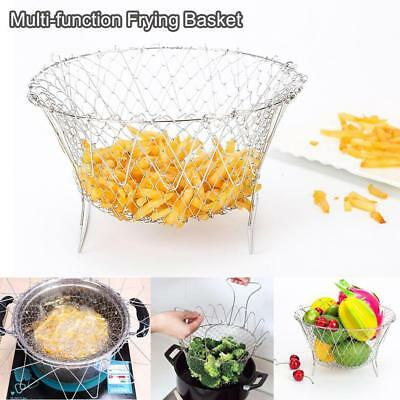 Foldable Kitchen Steam Rinse Strain Strainer Net Frying Chef Basket Cooking Tool