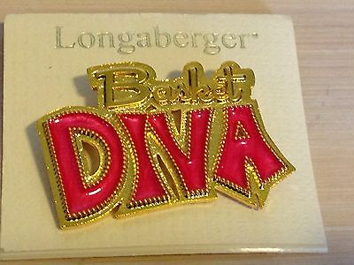 Longberger BASKET DIVA PIN Gold Tone w/ Pink Enamel - NEW!