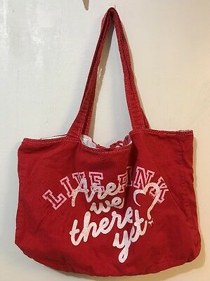 Victoria's Secret PINK Red White Pink Reversible Tote Bag