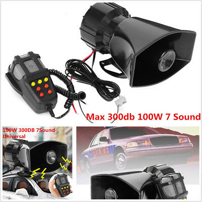 Max 300db 100W Loud Horn Car Van Truck 7 Sound Tone Speaker With PA System Mic