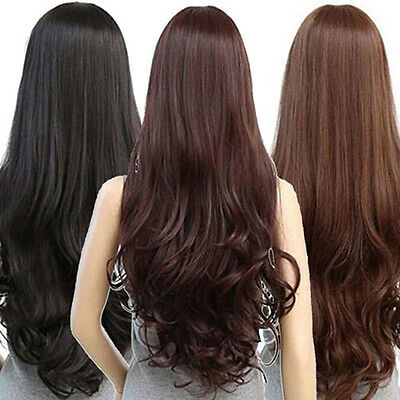 BL_ Women Long Curly Wavy Full Wig Heat Resistant Hair Cosplay Party Lolita Pres