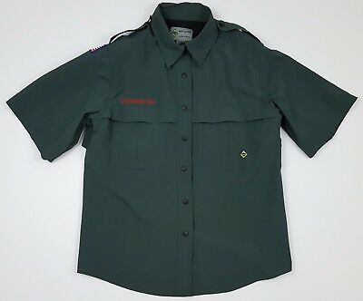 BSA Venturing Womens Size Medium Short Sleeve Vented Green Shirt
