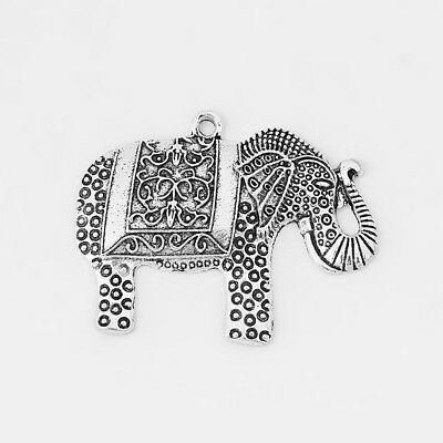5 pcs Large Antique Silver Animal Lucky Elephant Charms Pendants Beads 48mm