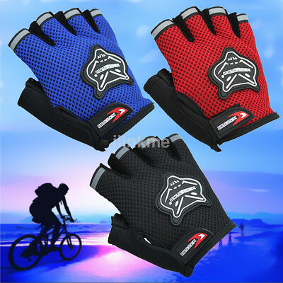 Outdoor Sports Cycling Bicycle Bike Gel Half Fingers Fingerless Gloves Adult/Kid