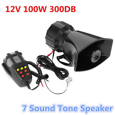 300db 100W 12V Loud Horn Car Truck 7 Sound Tone Speaker Warning Alarm PA System