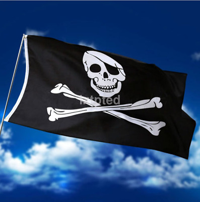 Large Skull And Crossbones Pirate Flag Jolly Roger Hanging With Grommets 5x3 ft~