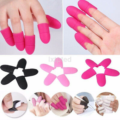 10PCS Nail Art Silicone UV Gel Polish Remover Wraps Soak Off Cap Clip Tools AU~