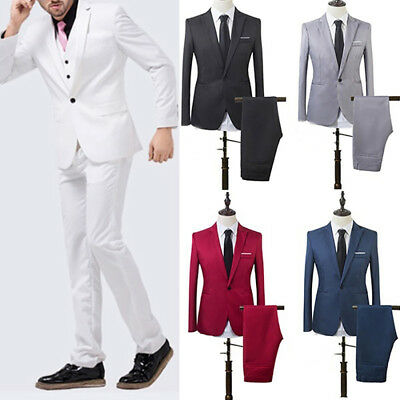 KQ_ Men's Wedding Groom Suit Slim Fit Jacket Tuxedo Pant Hot Formal Suit 2pcs Se