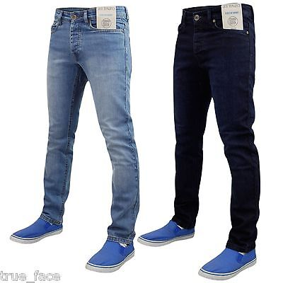 a0025f2986f New Mens Enzo Stone Washed Stretch Denim Jeans Skinny Slim Fit Trouser Pants
