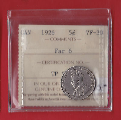 1926 Far 6 Canada FIve Cent Coin 9051 ICCS Very Fine VF - 30  Old Holder! $585