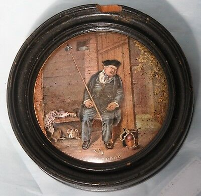 "Antique Victorian Pratt & Co.Framed Pot Lid No 340 ""On Guard"""