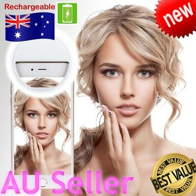 Rechargeable Selfie Light LED Flash Ring Camera Recharge Beauty iPhone Samsung