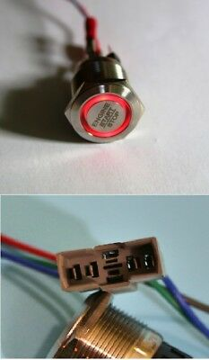 "LED Starterknopf rot Start Knopf Startknopf 22 mm ""Engine start stop"" + Fassung"