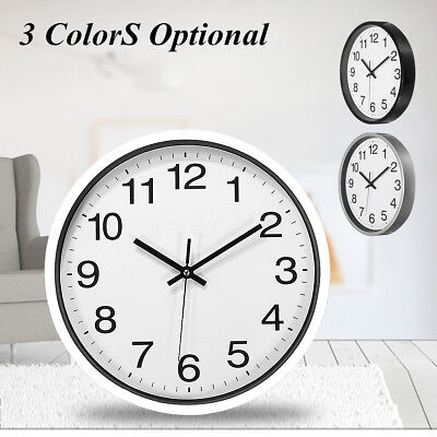 30cm 12'' Silent Sweep Non-Ticking Wall Clock Black White Office Home Decor Gift
