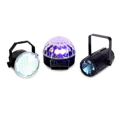 3er SET LED LICHT EFFEKT STRAHLER STROBOSKOP MOONFLOWER STAR BALL PARTY LICHTSET