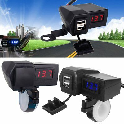 12V/24V Waterproof ATV Boat Motorcycle Dual USB Charger LED Display Voltmeter