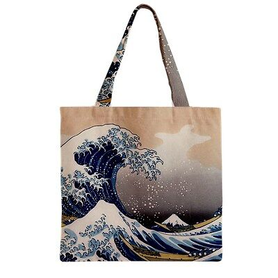 The Great Wave Mount Fuji Japanese Hokusai Art Canvas Shopping Book Tote Bag