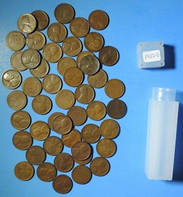 Roll of 1922 D Lincoln Head Wheat Cents ALL G - VF 50 Pennies Nice Coins weak