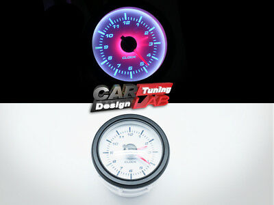 52mm Clock Time Car Truck Gauge Meter White LED White Face / Clear Lens 12V