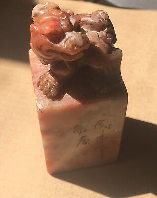 China Antique Ancient Seal Stamp Lion Genuine Hand Carved Stone