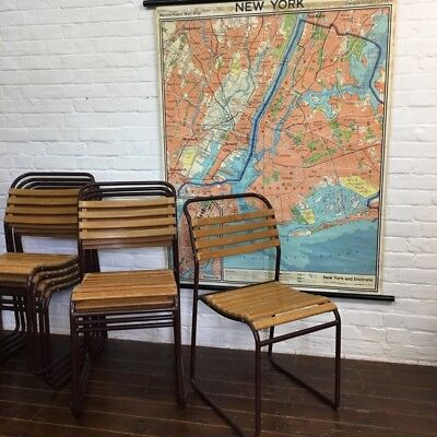 Industrial Vintage Cox Slatted School Stacking Restaurant Cafe Chairs