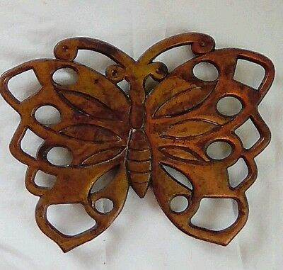 Vintage Brass Look Heavy Metal Butterfly Trivet Plant Stand Patina Free Shipping
