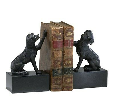 "Old World Dog Bookend Set Cast Iron Marble Base 8""H ~ 02817 Cyan Design"