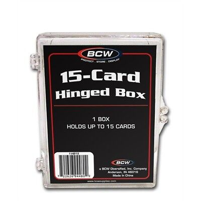 Trading Card Storage Box Acrylic, Hinged Lid - Holds 15 Cards x 4 Pack