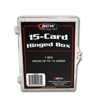 Trading Card Storage Box Acrylic, Hinged Lid - Holds 15 Cards x 8 Pack