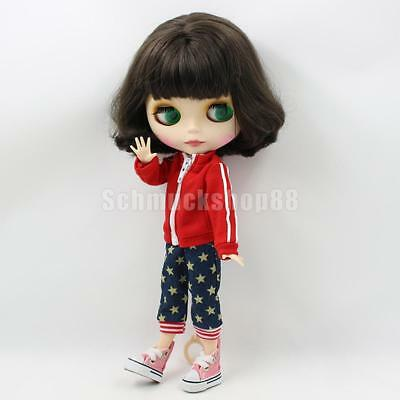 Casual Red Zippered Coat & Star Pants für 12 '' Blythe Dolls