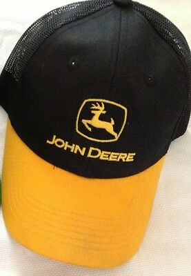 John Deere Embroidered Black and Yellow Adjustable Ball Cap