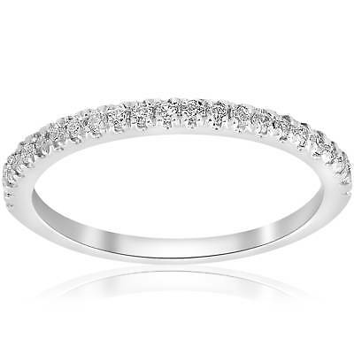 Stackable Band 1/5ct Diamond Wedding Band 10K White Gold Womes Anniversary Pave
