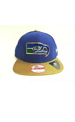 53ecec9ee SEATTLE SEAHAWKS NEW Era 9Fifty Cap Flat Brim Snapback Gold Collection NFL  50th