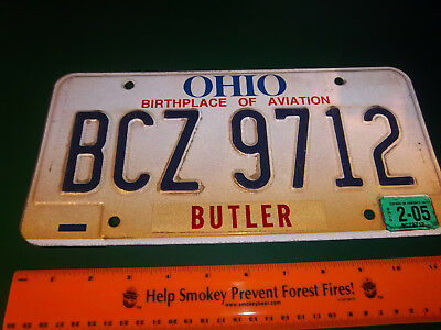 OHIO Metal License plate, birthplace of aviation, tan color, BCZ 9712 ex 2005