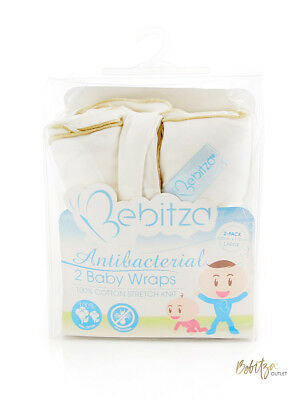 BEBITZA 2 Pack Antibacterial 100% Cotton Baby Wrap in Cream 110x120cm