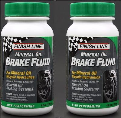 2 Pack Finish Line Mineral Oil 4oz Bike Hydraulic Disc Brake Fluid for Shimano
