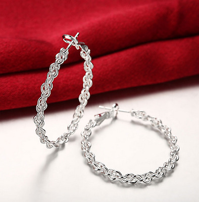 Fashion Womens 925 Sterling Silver Elegant Twisted Rope Hoop Charm Earrings #E51