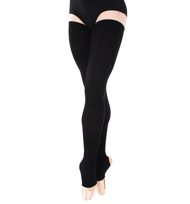Body Wrappers Womens 48 Extra-Long Stirrup Legwarmers,Black,One Size