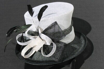 Ladies Sinamay Hat. Black & White.
