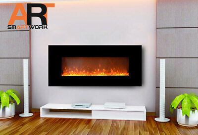 """1500W 50"""" 128Cm Black Wall Mounted Electric Fireplace, Heater, Fire, Flame"""