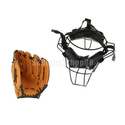 Catchers Schutzausrüstung Baseball Softball Face Guard Maske + Baseball