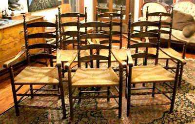 Set of six Dining Room Solid Hardwood Ladder back chairs