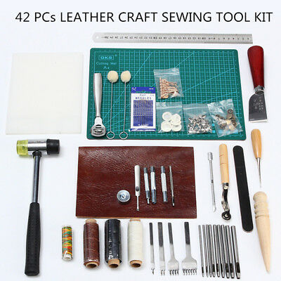 42PCs Leather Craft Sewing Tool Kit Set Punch Cutter Groover Beveler Stitching H