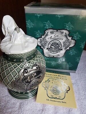 ANHEUSER BUSCH AB STEIN 5TH ANNIVERSARY COLLECTORS CLUB CB13 membership 1999
