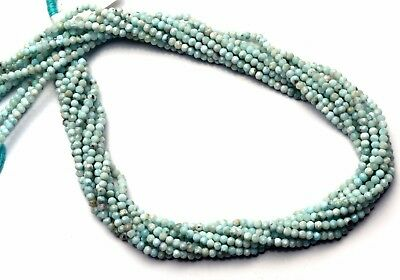 """Natural Gemstone Larimar 3MM Approx. Micro Faceted Rondelle Beads Strand 13"""""""