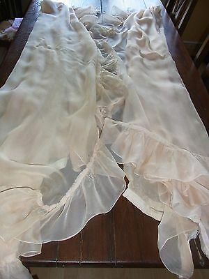 PAIRE RIDEAUX N02 VOILAGES rose chair 2x(h253 L156) VINTAGE Pair of veil curtain