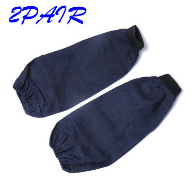 2 Pair Denim Arm Welding Welders Sleeve Sleeves Protection Length 38cm