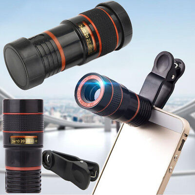 8x Zoom Optical Camera Telescope Lens & Universal Clip Kit For Mobile Cell Phone