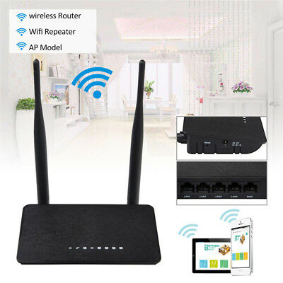 300Mbps Wireless Wifi Router Repeater W/ Extender Dual Antenna 2.4Ghz AP Mode